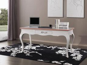 Schreibtisch Massivholz weiß und braun